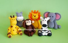 6 Edible Fondant Jungle Animals Cake / Cupcake Toppers. $45.00, via Etsy. Lion