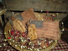 Primitive Patriotic Americana Red Ticking Flag Pillow Bowl Fillers Ornies $4.00