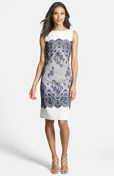 Tadashi Shoji Lace Overlay Sheath Dress available at #Nordstrom Mother of Bride dress