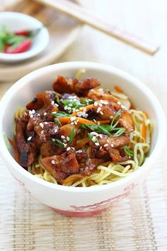 Ingredients: 6 oz. skinless and boneless chicken thigh or leg meat, cut into small pieces 10 oz. fresh egg noodles 3 tablespoons cooking oil 2 cloves garlic, minced 1/2 cup shredded cabbage 1/4 cup shredded carrot 1 tablespoon soy sauce 1 tablespoon oyster sauce 2 tablespoons water