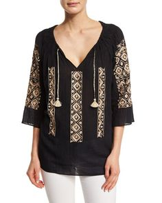 Ernalta 3/4-Sleeve Embroidered Top, Black by Calypso St. Barth at Neiman Marcus.
