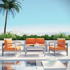Shore 6 Piece Outdoor Patio Aluminum Sectional Sofa Set in Silver Orange