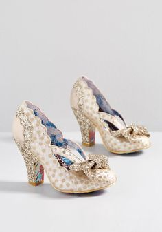 Patterns at Display Metallic Heel in Gold in 41 - High Heel - Over 3 + by Irregular Choice from ModCloth