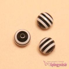 Fekete-fehér csíkos golyó, 10 mm-es akril gyöngy Stud Earrings, Jewelry, Jewlery, Jewerly, Stud Earring, Schmuck, Jewels, Jewelery, Earring Studs