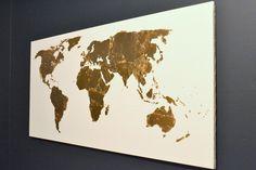 Wereldkaart met bladgoud