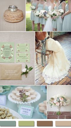 sage green and brown neutral wedding color ideas and wedding invitations #weddingcolors