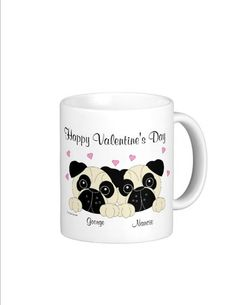 Valentine's Pug Mugs  Personalized Specially by CCGirlsCorner