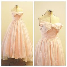 Vintage Bridal or Party Embroidered Silk Organza Blush Pink dress with bow detail at bodice