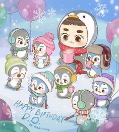 Happy Birthday actor Do Kyungsoo~! Kyungsoo, Kaisoo, Chanbaek, K Pop, Kpop Exo, Kokobop Exo, Exo Memes, Chibi, Fan Art