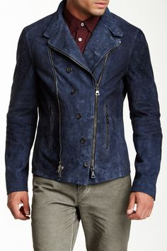 Amazing styling and design plus it's blue! John Varvatos Leather Jacket