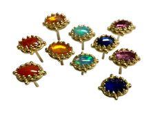18K yellow gold oval gem stud earrings 18k Gold Earrings, Stud Earrings, Pink Tourmaline, Blue Sapphire, Jewelry Collection, Opal, Studs, Delicate, Gems