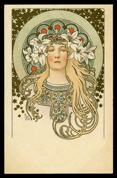 "The Paris publisher, F. Champenois, published 7 series of Mucha designed postcards for collectors. This magnificent portrait of Sarah Bernhardt, which was knocked down for £219, is from the 5th series and was used to illustrate an article on her, which appeared in the December 1896 issue of the magazine ""La Plume""."