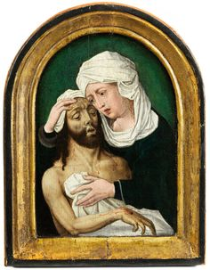 """PIETÀ Öl auf Holz. Ca. 19,5 x 15,5 cm. Verso alter handgeschriebener Aufkleber """"Pietà von Ambrosius Benson"""" (um 1495 - 1550). Gekehlter und..."""