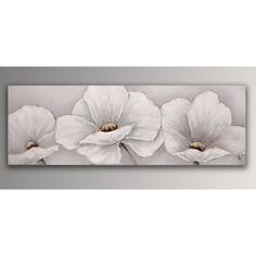 White flowers | hand made modern floral painting with relief decorations | painting mounted on a thick aesthetic stretching frame | wall decor | modern art