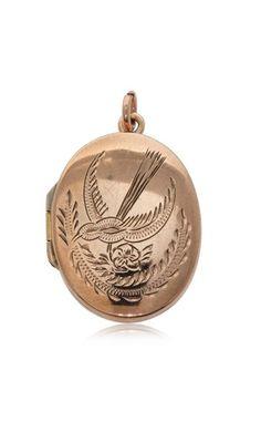 Vintage 9ct rose gold oval swallow locket