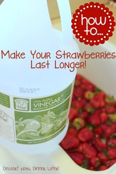 How To Make Your Strawberries Last Longer! Works for all berries! The vinegar cleans, sanitizes, & kills mold spores keeping the strawberries fresh longer (The vinegar does not affect the taste.)  The cold water shocks the strawberries to wake them up a little bit, helping them stay crisp.  Let soak for 5 minutes.