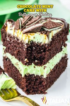 slice of chocolate cake with mint on a plate Mint Chocolate, Chocolate Heaven, Chocolate Cake, No Bake Desserts, Dessert Recipes, Baking Recipes, Cake Mix Recipes, Mint Cake, Buttercream Frosting