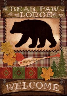 Custom Decor Flag - Welcome Bear Decorative Flag at Garden House Flags at GardenHouseFlags