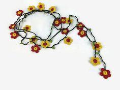 Flower Garland Daisy Flowers Long Wrap Crochet by Nakkashe on Etsy