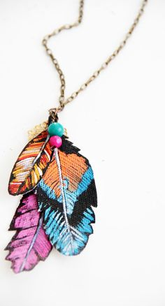 painted canvas Feathers necklace