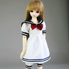 120# White & Dark Blue Shirt/Clothes/Dress/Suit/Outfit 1/6 SD AOD BJD Dollfie (1/6 scale doll clothes that looks like it may be designed for YoSD proportioned bodies - however I see no reason why it shouldn't fit Obitsu and Azone Pure Neemo bodies fairly well. Might be somewhat baggy on blythe bodies but it's hard to tell.)
