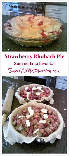 Strawberry Rhubarb Pie - Made with grandma's pie crust recipe. A summertime favorite! | SweetLittleBluebird.com