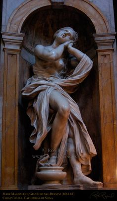 Mary Magdalene — GianLorenzo Bernini (1661).   Sits in the Chigi Chapel of Siena Cathedral, Sienna, Italy.