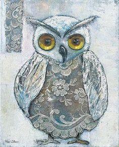 Rian-Withaar-Lace-Owl-II-Keilrahmen-Bild-50x60-Leinwand-Eule-Vogel