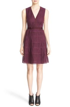 Absolutely in love with this chic Burberry fit & flare dress in a rich burgundy color.