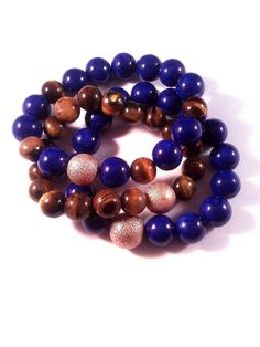 SET  3 10mm Blue Sapphire and Tiger Eye by TheCandyCollections, $34.00