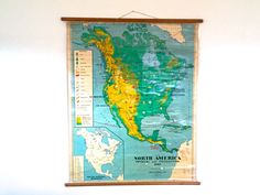 Vintage Map North/South America Pull-Down Wall Chart  by postcode