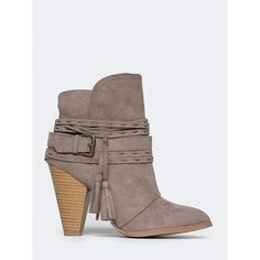 STRAPPY ANKLE BOOTIE ($39) ❤ liked on Polyvore featuring shoes, boots, ankle booties, beige, slip on boots, beige ankle booties, beige booties, qupid booties and pull on boots