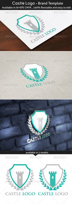 Castle Logo  #GraphicRiver         Logo is made with vectors for easy resizing and customizing – all texts can be rewritten even You can change the font or color.   Font used:  .fontpalace /font-download/TrajanPro-Regular/