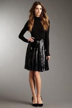 Edna Pleated Sequin Skirt