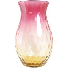 This beautiful Amberina glass vase with inverted thumbprint design shades from  amber to ruby red