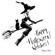 Halloween by Megan Hess Fall Halloween, Happy Halloween, Halloween Witches, Halloween Frames, Halloween Canvas, Megan Hess Illustration, Illustration Art, Halloween Illustration, Kerrie Hess