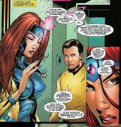 Jean Grey shuts Captain Kirk down in 1996's inexplicable Star Trek/X-Men crossover.