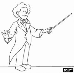 musician orchestra conductor with baton in action conducting the orchestra coloring page