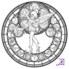 Disney Fairies Stained Glass -line art- by ~Akili-Amethyst on deviantART