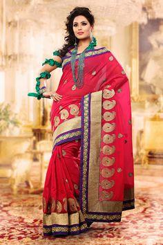 Charming Fuchsia Embroidered Saree | StylishKart.com