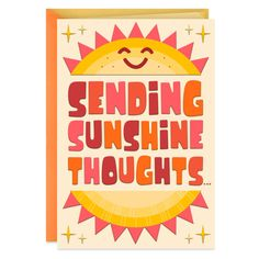 Send some sunshine to someone special with this thoughtful card. Featuring a smiling sun design, our cheerful greeting has embossed and glossy details and bright orange, red and yellow hues. Thinking Of You Quotes, Hallmark Greeting Cards, Cute Presents, Special Kids, Get Well Gifts, Pop Up Cards, Kids Cards, Homemade Cards, Note Cards