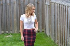 5 STYLE TIPS FOR PLAID SKIRTS. Fall plaid skirt with booties. | Nelle Creations