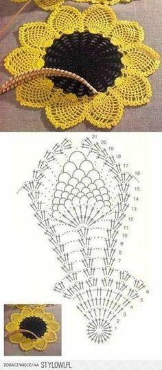 Margarida em crochê para confecção de peças diversas (toalhas, tapetes, forros...)