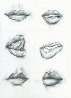 #art #women #black #white #drawing #mouth