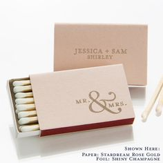 Mr. & Mrs. Personalized Match Boxes, Set of 50 - Party Favors, Custom Matches, Foil Stamped Matches, by ForYourParty on Etsy https://www.etsy.com/listing/216574832/mr-mrs-personalized-match-boxes-set-of