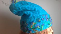 knit cap in teal with flower decor/ slouchy teal knit hat w artistic decor and small pompom