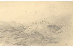 C.L. Robertson - 1888 Graphite Drawing, Hill Settlement