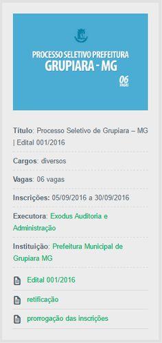 Abertas as inscrições do Processo Seletivo de Grupiara, Estado de Minas Gerais, para contratação de profissionais com nível fundamental.