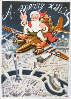 40s Patriotic WWII USAF Santa in Bomber Airplane-France-Vtg Christmas Card