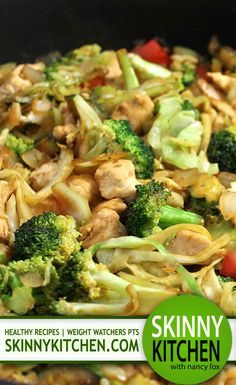 (New) Deliciously Skinny, Chicken and Veggie Stir-Fry. It's fabulously healthy and has the most delicious sauce! Each 2 cup serving has 267 calories, 8g fat and 7 Weight Watchers POINTS PLUS. http://www.skinnykitchen.com/recipes/deliciously-skinny-chicken-and-veggie-stir-fry/
